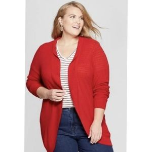 Ava and Viv open front red cardigan